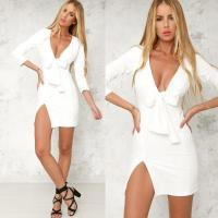 China White Deep V Bow Tie Front Sexy Mini Dress with Slip Side WMZ2002 #WMZ2002 wholesale