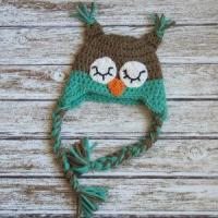 China Sleepy owl crochet cotton hat for baby in light brown and aqua wholesale