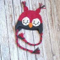 China Sleepy owl crochet hat for girls in pink and gray wholesale