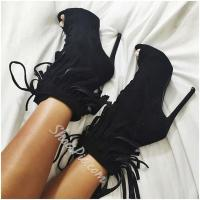China Shoespie Suede Tassels Lace Up Peep Toe Ankle Boots on sale