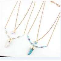 China Turquoise Double Chain Pendant Necklace With Bead on sale