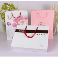 China White matt gift paper bags with black hot foil stamping wholesale