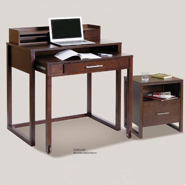Durable Natural Bamboo Computer Desk With Wheels Of