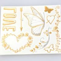 China Custom radiant gold and silver heart shaped temporary tattoos flash gold tattoos on sale