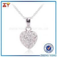 China 925 Silver Heart Pendant Necklaces with Small Size Round CZ Stone wholesale