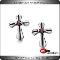 China Men's Gothic Punk Thai Silver Cross Shapen CZ Silver Stud Earring With Zricon wholesale