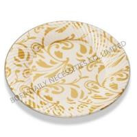 Buy cheap PRODUCT Metal(golden) printing round plate plastic party tableware set from wholesalers