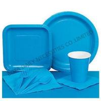 Buy cheap PRODUCT Solid blue tableware set paper party tableware set from wholesalers