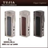 China Best High-end Multi-fonction four flame cigar lighter with cigar cutter and punch wholesale