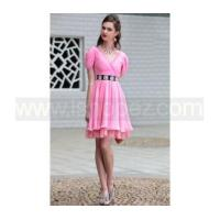 Drape Shoulder V Neck pink short prom dress