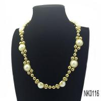China Necklace stainless steel ball chain necklace with pearls on sale