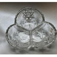 China American Brilliant Period Hand Cut Antique Crystal 3 section Signed Ha on sale