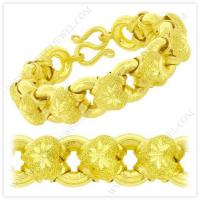 China 5 Baht Sparkling Polished Diamond-Cut Hollow Heart Donut Link Chain Bracelet in 23k Thai Yellow Gold wholesale