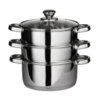 China Kitchen & Dining PREMIER HOUSEWARES STAINLESS STEEL STEAMER SET WITH GLASS LID - 22CM DIAMETER on sale