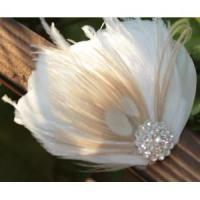 China KISSPAT Bridal Fascinator Clip,Wedding Headpieces,Feather Accessory with White Dimaond Jewel wholesale