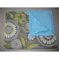 China Grey gray lacework with blue minky dot blanket on sale