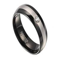 China Two Tone Tungsten Wedding Ring for Men with Single CZ | 8mm on sale