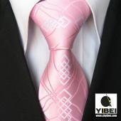 China Yibei Ties Novelty Pinks/White Paisley Check Woven Necktie Mens Neck Tie wholesale