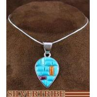 China Southwest Multicolor Inlay Pendant And 18 Italian Sterling Silver Chain Necklace NS51253 on sale