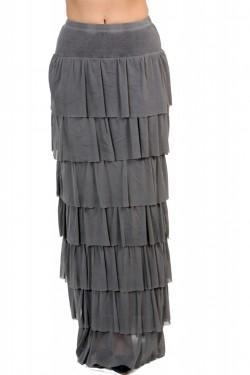 Quality A Postcard From Brighton Francis Layered Grey Tiered Maxi Skirt for sale