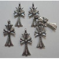 China Pewter antique silver tone cross pendants charms on sale