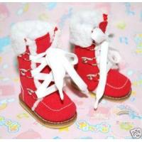China Dollfie Yo-SD Shoes Suede Fur Lace-Up Boots Red on sale