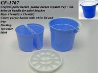 Crafters paint bucket - plastic bucket w/paint tray + lid, holes in handle for paint brushes