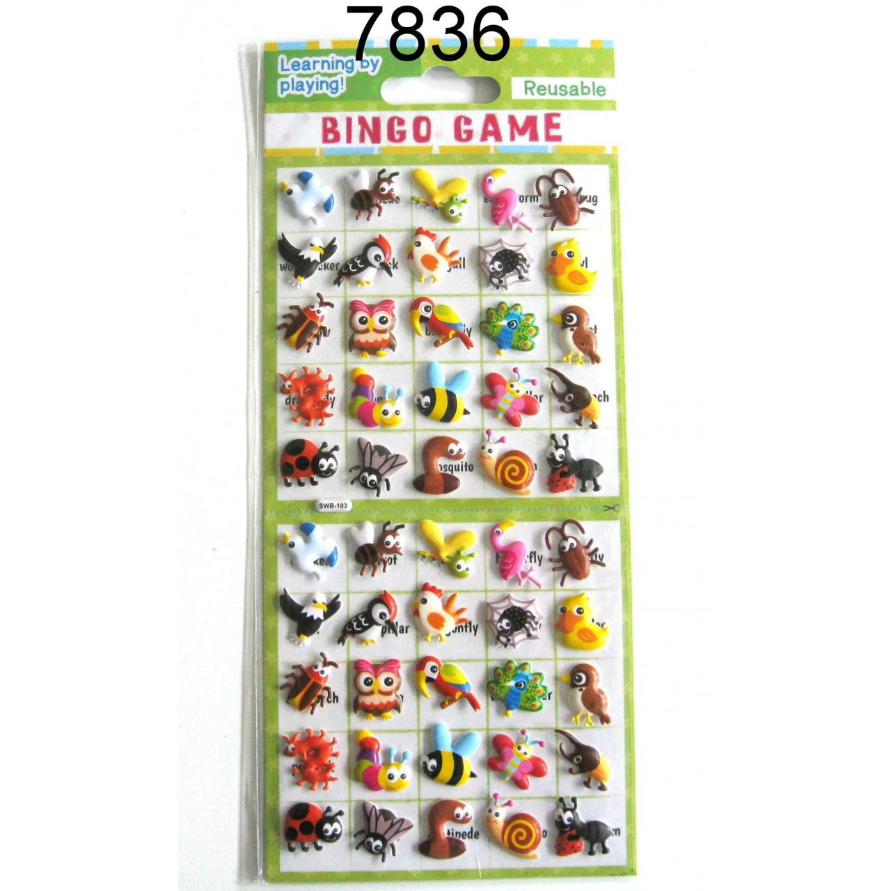 INSECT DESIGN BINGO GAME PUFFY STICKER