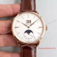 Buy cheap Swiss Replica A. Lange & Sohne Watch 384 Moonphase Watch Rose Gold White Leather from wholesalers