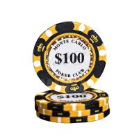 China 14 Gram Monte Carlo Clay Composite Poker Chip With Gold Trim wholesale