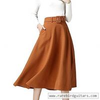China ITOPAI Fashion Pockets Warm Wide Hem Winter A-line Skirt With Belt Good Quality wholesale
