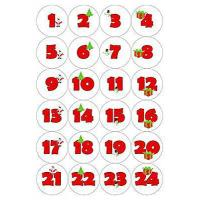 China 24 Christmas Advent Calendar Stickers - Pictures & Numbers, White from Party People wholesale