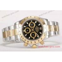 China Rolex Watches Clone Rolex Daytona Two Tone Black Face 40mm Mens Watch wholesale