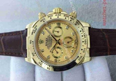 Quality Rolex Watches Clone Rolex Daytona Watch All Gold Brown Leather Watch Starp for sale