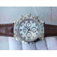 China Rolex Watches Clone Rolex Daytona Watch SS White Dial Brown Leather Band wholesale