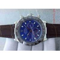 China Rolex Watches Clone Rolex Daytona SS Case Blue Dial Brown Leather Band Watch wholesale