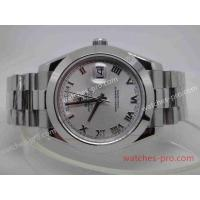 China Rolex Watches Clone Rolex Day Date II Watch 41mm SS Silver Roman Face wholesale