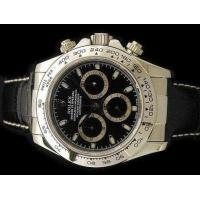 China Rolex Daytona Stainless Steel Black Leather strap Mens Replica Watch for sale on sale