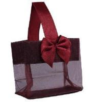 Burgundy Sheer Tote with Satin Handle & Bow (3.25