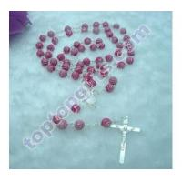 China silver stripe plastic rosary prayer beads 59 pcs necklace Jewelry Styles on sale