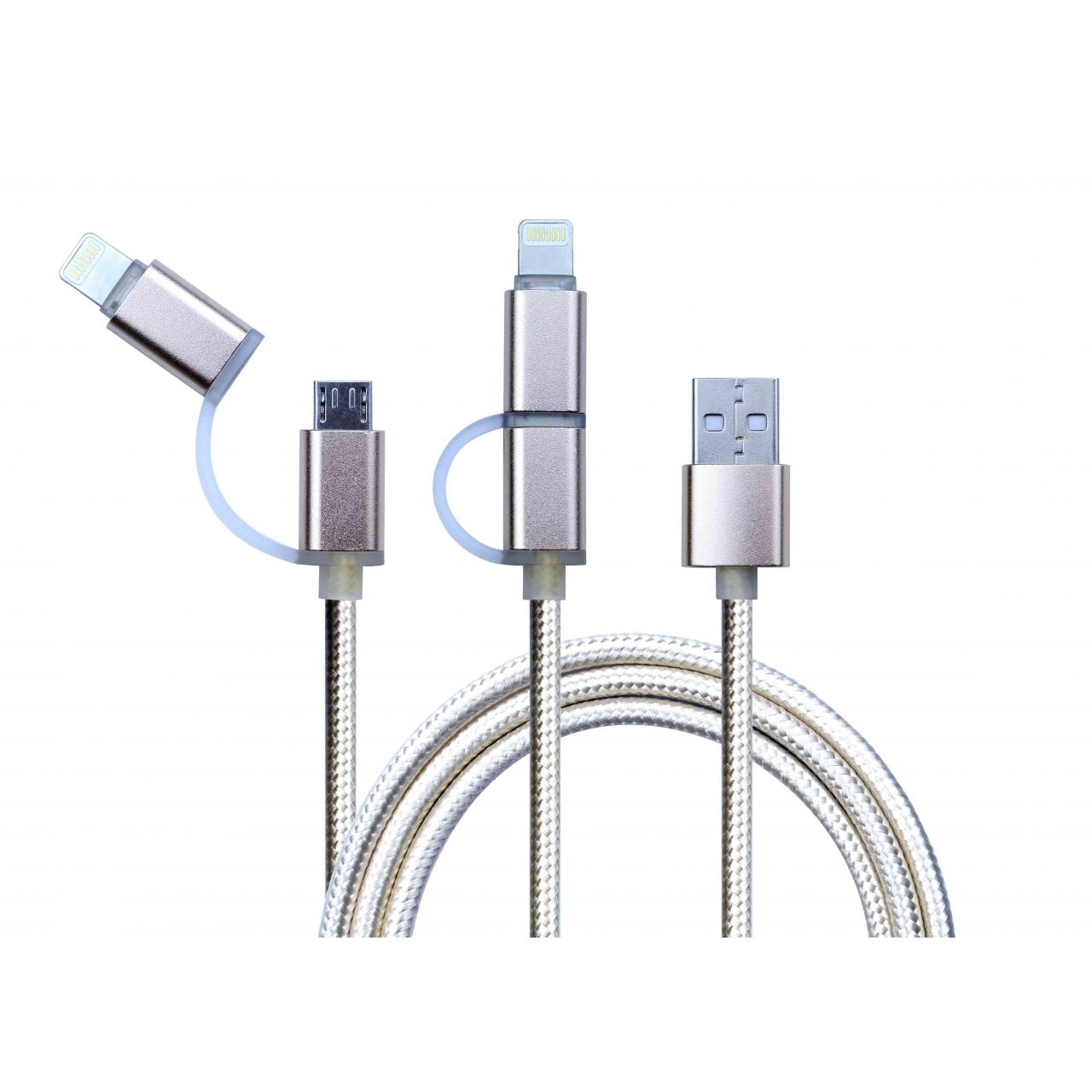 China 2 in 1 Fabric Alloy usb cable on sale