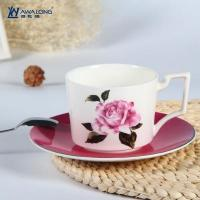 Cup and Saucer Unique design rose decal fine bone china cups with saucer