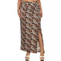 Quality Ruched Side Waist Open Split Cut Maxi Skirt - BROWN PEACOCK for sale