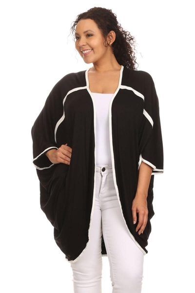 China Contrast Piping Drape Dolman Cardigan - BLACK