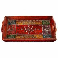 Aapno Rajasthan Wooden Tray With Floral Design
