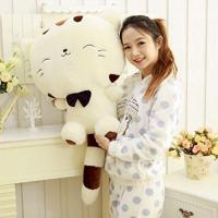 """18"""" 45CM Include Tail Cute Plush Stuffed Toys Cushion Fortune Cat Doll High 13'' Beige Color"""