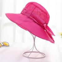 China Red Color Wide Brim Cotton Sun Beach Hats With Bowknot for Women on sale