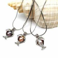 China Double Dolphin Cage Pendant Necklace Freshwater Cultured Pearl wholesale