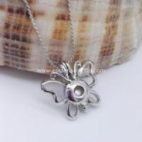 Buy cheap Butterfly Cage Locket Pendant Necklace Pearl Beads Jewelry from wholesalers