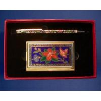 China Gift set cloisonne business card case & pen wholesale